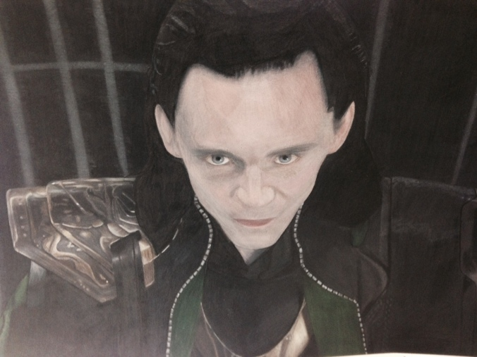 Lindsey finished her Loki piece! This photograph doesn't do it justice -- I was just trying to prevent a 'prisma sheen'