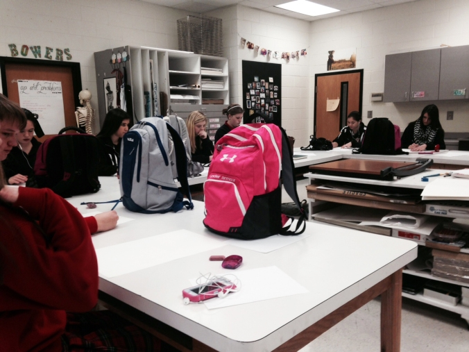 My eighth graders working on contour drawings of their bookbags.