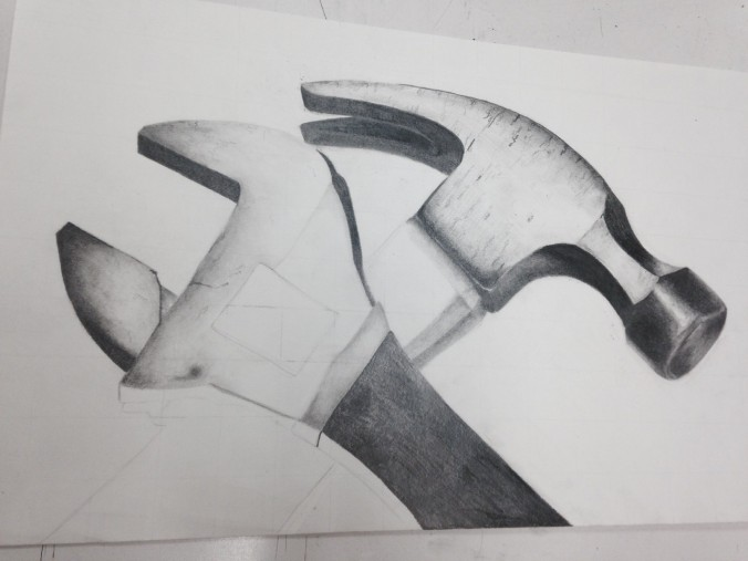 Rachel's graphite work. The hammer looks like a photograph. They amaze me.
