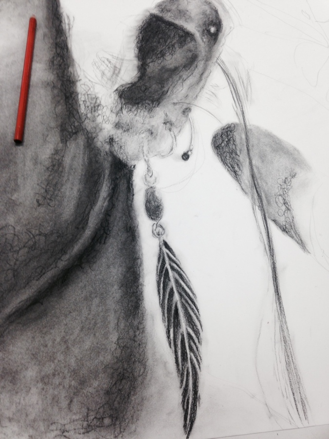 Angel and I worked together to get the photographs she needed for her Concentration! She started this week and I am in LOVE with the expressive mark making she is incorporating into her charcoal works.
