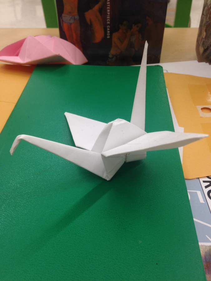 We decided in Sculpture this week that we're going to create a 1000 crane installation piece. Swoon. Every day, make.